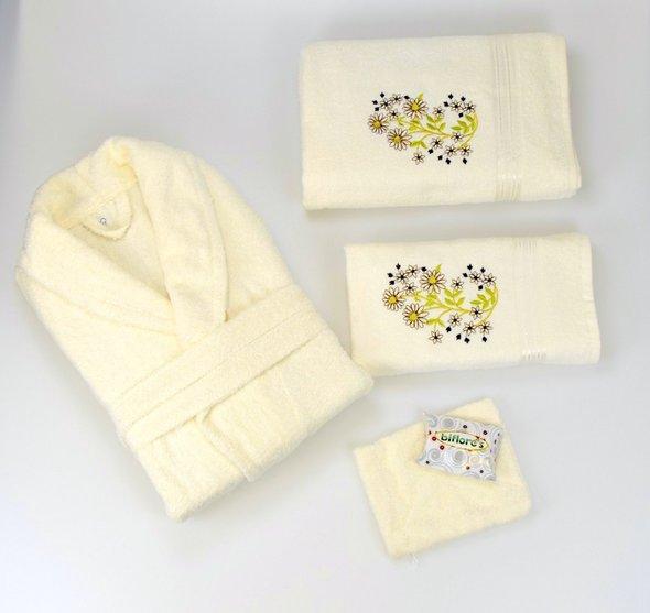 Халат с полотенцами NURPAK BIOFLORES светло-кремовый 48-52, фото, фотография