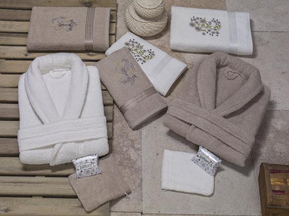 Набор халатов с полотенцами Nurpak BIOFLORES кремовый+кремовый 48-52, фото, фотография