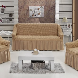Набор чехлов на трёхместный диван и кресла (2 шт.) Bulsan BURUMCUK (бежевый)