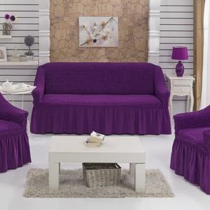 Набор чехлов на трёхместный диван и кресла 2 шт. Bulsan BURUMCUK фиолетовый