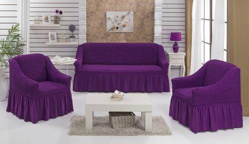 Набор чехлов на трёхместный диван и кресла 2 шт. Bulsan BURUMCUK фиолетовый, фото, фотография