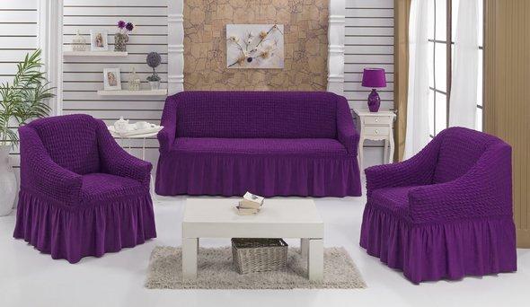 Набор чехлов на трёхместный диван и кресла (2 шт.) Bulsan BURUMCUK (фиолетовый), фото, фотография