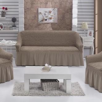 Набор чехлов на трёхместный диван и кресла 2 шт. Bulsan BURUMCUK кофейный