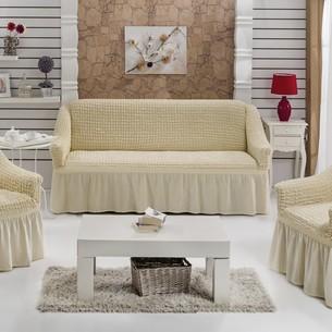 Набор чехлов на трёхместный диван и кресла 2 шт. Bulsan BURUMCUK натурал