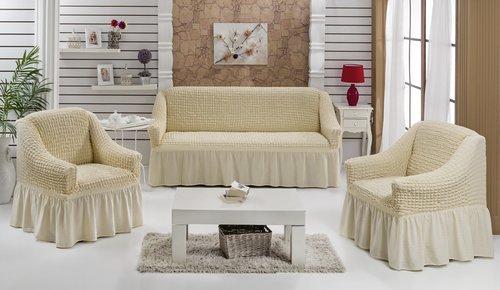 Набор чехлов на трёхместный диван и кресла 2 шт. Bulsan BURUMCUK натурал, фото, фотография