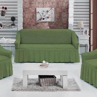 Набор чехлов на трёхместный диван и кресла 2 шт. Bulsan BURUMCUK зелёный