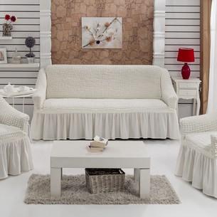 Набор чехлов на трёхместный диван и кресла 2 шт. Bulsan BURUMCUK кремовый