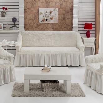 Набор чехлов на трёхместный диван и кресла (2 шт.) Bulsan BURUMCUK (кремовый)