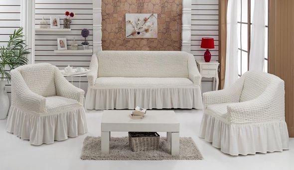 Набор чехлов на трёхместный диван и кресла (2 шт.) Bulsan BURUMCUK (кремовый), фото, фотография