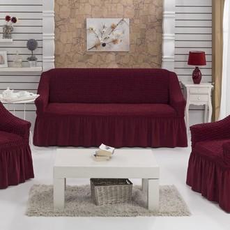 Набор чехлов на трёхместный диван и кресла (2 шт.) Bulsan BURUMCUK (бордовый)