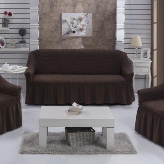 Набор чехлов на диван и кресла BULSAN 3+1+1 коричневый