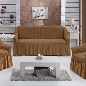 Набор чехлов на трёхместный диван и кресла 2 шт. Bulsan BURUMCUK горчичный