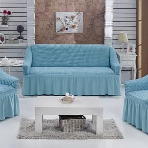 Набор чехлов на трёхместный диван и кресла 2 шт. Bulsan BURUMCUK бирюзовый