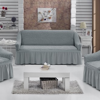 Набор чехлов на трёхместный диван и кресла 2 шт. Bulsan BURUMCUK серый