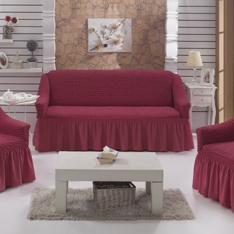 Набор чехлов на трёхместный диван и кресла 2 шт. Bulsan BURUMCUK грязно-розовый