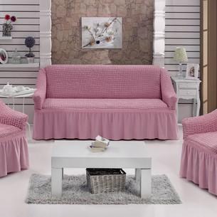 Набор чехлов на трёхместный диван и кресла 2 шт. Bulsan BURUMCUK светло-розовый