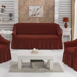 Набор чехлов на трёхместный диван и кресла 2 шт. Bulsan BURUMCUK кирпичный