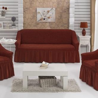 Набор чехлов на трёхместный диван и кресла (2 шт.) Bulsan BURUMCUK (кирпичный)