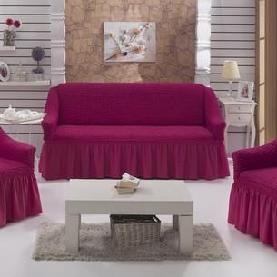 Набор чехлов на трёхместный диван и кресла 2 шт. Bulsan BURUMCUK светло-лавандовый