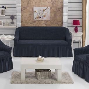 Набор чехлов на трёхместный диван и кресла 2 шт. Bulsan BURUMCUK тёмно-серый