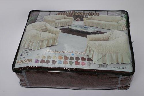 Чехол на диван угловой левосторонний 2+3 Bulsan коричневый, фото, фотография