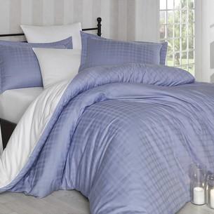 Постельное белье Hobby Home Collection EKOSE хлопковый сатин-жаккард лиловый+белый 1,5 спальный