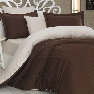 Постельное белье Hobby Home Collection EKOSE хлопковый сатин-жаккард коричневый+кремовый 1,5 спальный