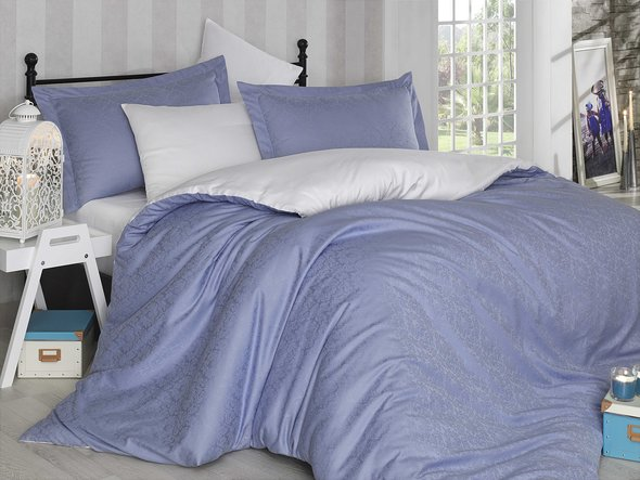 Постельное белье Hobby Home Collection DAMASK сатин-жаккард (лиловый+белый) 1,5 спальный, фото, фотография