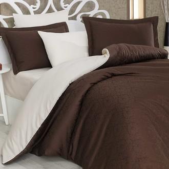Комплект постельного белья Hobby Home Collection DAMASK сатин-жаккард (коричневый+кремовый)