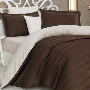 Постельное белье Hobby Home Collection BULUT хлопковый сатин-жаккард коричневый+кремовый 1,5 спальный