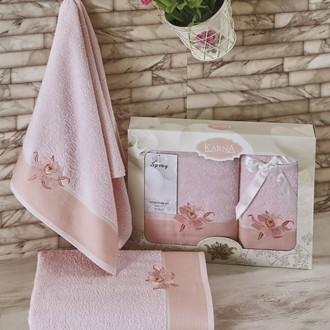 Набор полотенец Karna SPRAY хлопковая махра светло-розовый
