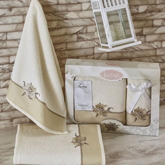 Набор полотенец Karna SPRAY хлопковая махра кремовый