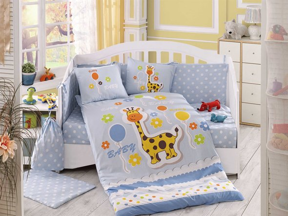 Комплект постельного белья детский Hobby PUFFY поплин синий ясли, фото, фотография