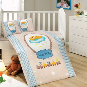 Набор в детскую кроватку Hobby Home Collection BAMBAM хлопковый поплин голубой