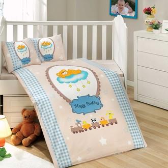 Набор в детскую кроватку для новорожденных Hobby BAMBAM поплин голубой