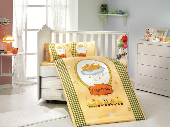 Набор в детскую кроватку для новорожденных Hobby BAMBAM поплин жёлтый ясли, фото, фотография