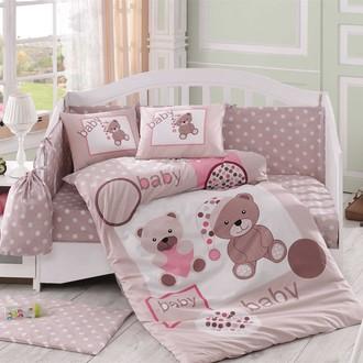 Набор в детскую кроватку для новорожденных Hobby PONPON поплин бежевый