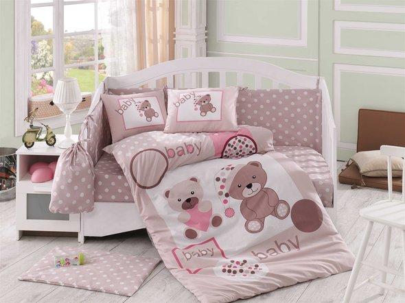 Набор в детскую кроватку для новорожденных Hobby PONPON поплин бежевый ясли, фото, фотография