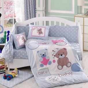 Набор в детскую кроватку для новорожденных Hobby PONPON поплин голубой ясли
