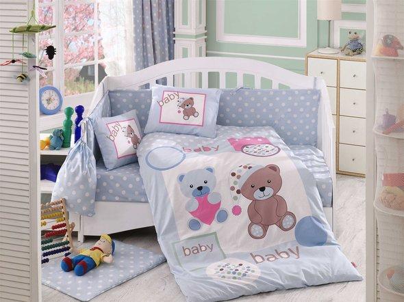 Набор в детскую кроватку для новорожденных Hobby PONPON поплин голубой ясли, фото, фотография