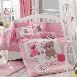 Набор в детскую кроватку для новорожденных Hobby PONPON поплин розовый ясли