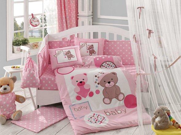 Набор в детскую кроватку для новорожденных Hobby PONPON поплин розовый ясли, фото, фотография