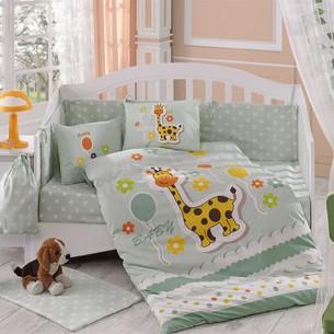 Набор в детскую кроватку для новорожденных Hobby PUFFY поплин минт ясли