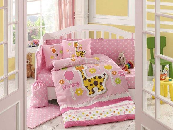 Набор в детскую кроватку для новорожденных Hobby PUFFY поплин розовый ясли, фото, фотография
