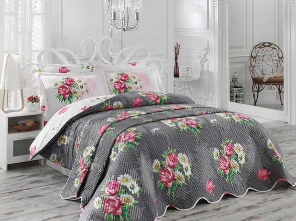 Комплект постельного белья с покрывалом Hobby CALVINA поплин серый евро, фото, фотография