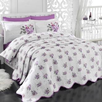 Комплект постельного белья с покрывалом стёганым Hobby PARIS SPRING поплин лиловый