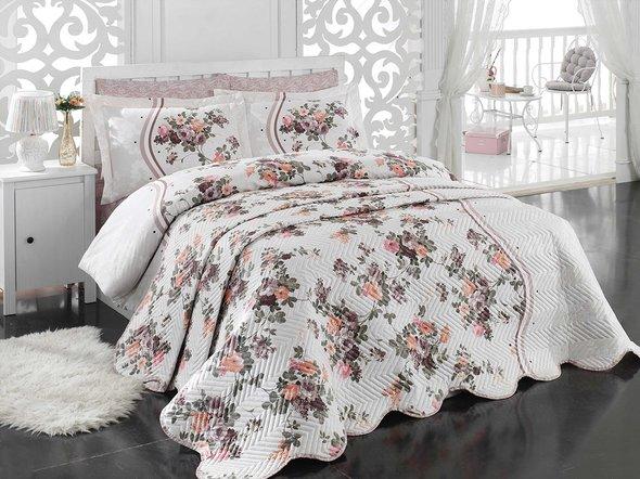 Комплект постельного белья с покрывалом стёганым Hobby SUSANA поплин коричневый евро, фото, фотография