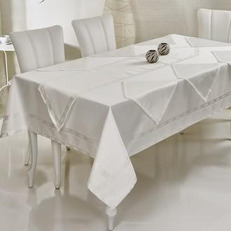 Скатерть с салфетками и дорожкой Verolli OTTOMAN жаккард белый