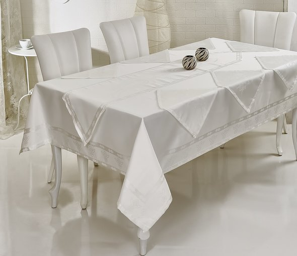 Скатерть с салфетками и дорожкой Verolli OTTOMAN жаккард белый 160*220, фото, фотография