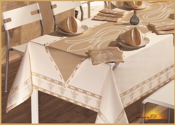 Скатерть с салфетками и дорожкой Verolli OTTOMAN жаккард золотой 160*220, фото, фотография